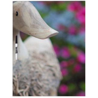 Wooden duck head with flowers dry erase board