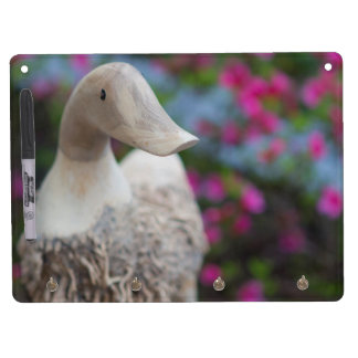 Wooden duck head with flowers dry erase board with keychain holder