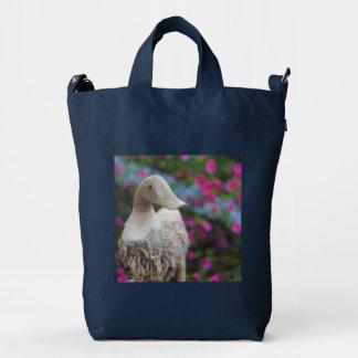 Wooden duck head with flowers duck bag