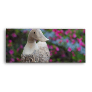 Wooden duck head with flowers envelope