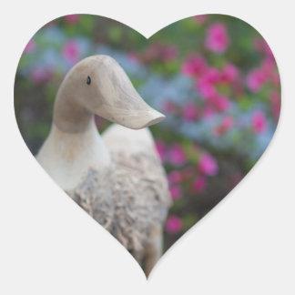 Wooden duck head with flowers heart sticker