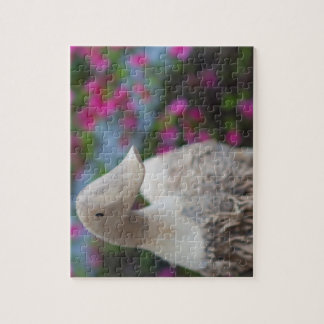 Wooden duck head with flowers jigsaw puzzle