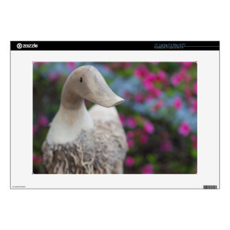 Wooden duck head with flowers laptop skins