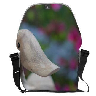 Wooden duck head with flowers messenger bag