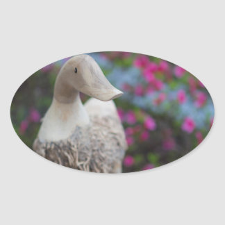Wooden duck head with flowers oval sticker