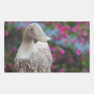 Wooden duck head with flowers rectangular sticker