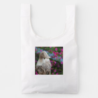 Wooden duck head with flowers reusable bag