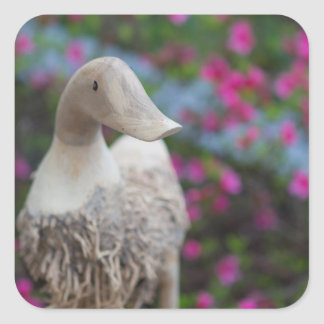 Wooden duck head with flowers square sticker