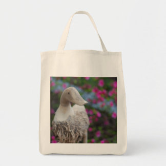 Wooden duck head with flowers tote bag