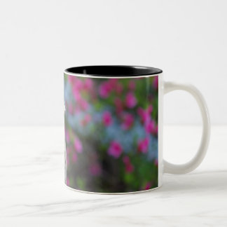 Wooden duck head with flowers Two-Tone coffee mug