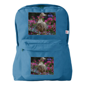 Wooden duck with flowers backpack