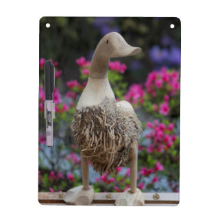 Wooden duck with flowers dry erase board