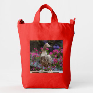 Wooden duck with flowers duck bag