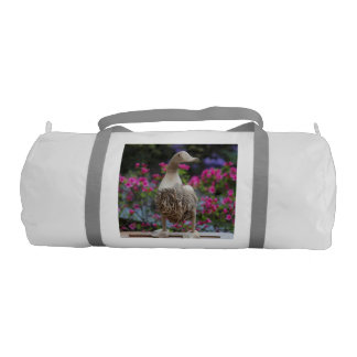 Wooden duck with flowers duffle bag