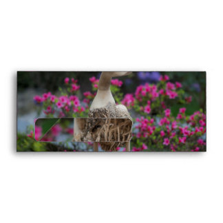 Wooden duck with flowers envelope