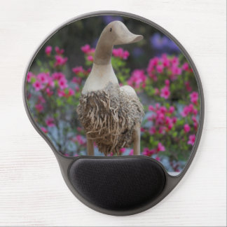 Wooden duck with flowers gel mouse pad