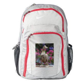 Wooden duck with flowers nike backpack
