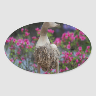 Wooden duck with flowers oval sticker