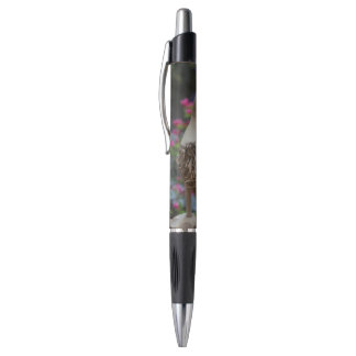 Wooden duck with flowers pen