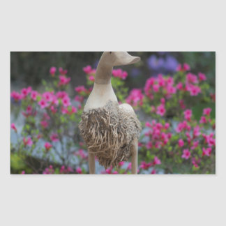 Wooden duck with flowers rectangular sticker