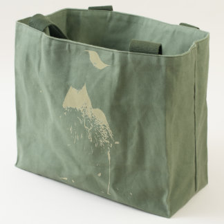 Wooden duck with flowers tote