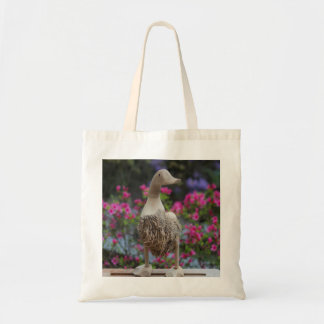 Wooden duck with flowers tote bag
