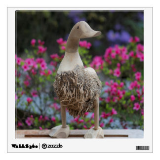 Wooden duck with flowers wall sticker