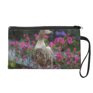Wooden duck with flowers wristlet purse