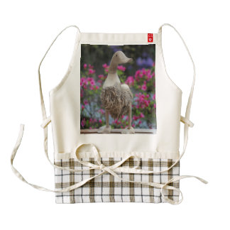 Wooden duck with flowers zazzle HEART apron
