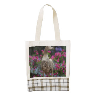 Wooden duck with flowers zazzle HEART tote bag