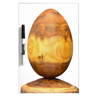 Wooden egg made of acacia tree with bark. dry erase board