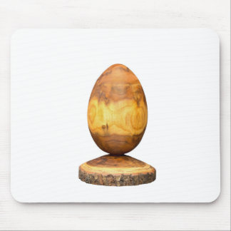 Wooden egg made of acacia tree with bark. mouse pad