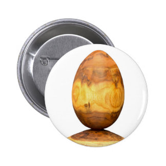 Wooden egg made of acacia tree with bark. pinback button