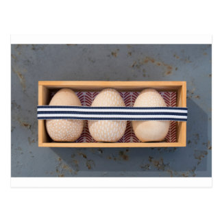Wooden eggs in a box postcard