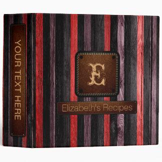 Wooden Elegant Monogram Leather Look #12 Binder