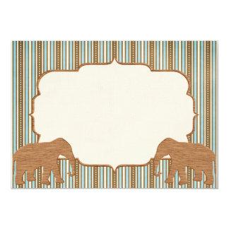 Wooden Elephants Circus Stripes 5x7 Invitation