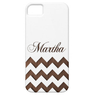 Wooden Engraved Chevron Name Personalized iPhone SE/5/5s Case