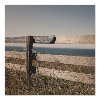 Wooden fence by the sea poster