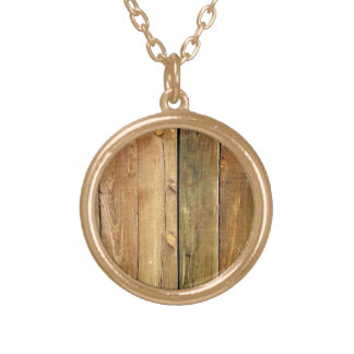 Wooden Fence Gold Plated Necklace