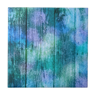 Wooden Fence Graffiti Purple Blue Green Turquoise Ceramic Tile