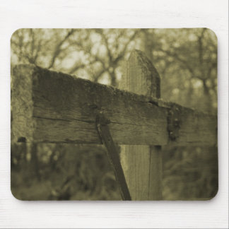 Wooden Fence post moss sepia mousepad
