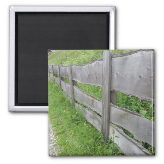 Wooden Fence Vallunga Valley, Selva, Italy 2 Inch Square Magnet
