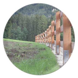 Wooden fence with forest in the background plate
