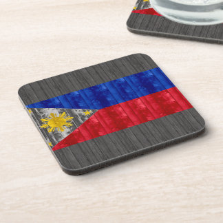 Wooden Filipino Flag Drink Coasters