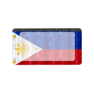 Wooden Filipino Flag Label