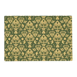 Wooden floral damask pattern background placemat