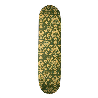 Wooden floral damask pattern background skateboard deck