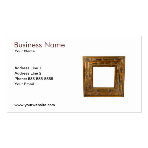 Wooden frame business card template zazzle for Business card picture frame
