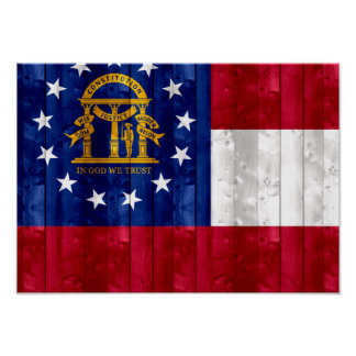 Wooden Georgian Flag Poster