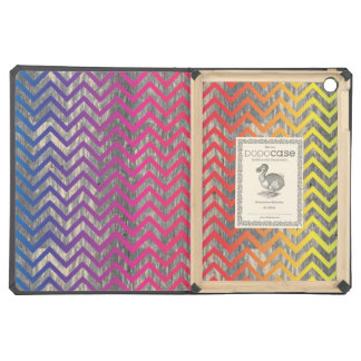 Wooden Gradient Colorful Chevrons iPad Air Covers